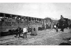 Телави. Эшелоны с солдатами на станции